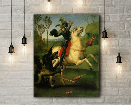 Raphael: St George Struggling with the Dragon. Fine Art Canvas.